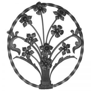 12/01 20mm CIRCULAR PANEL WITH FLOWERS 490 x 550mm