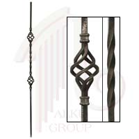 """48/1/44  1/2""""SQ. FORGED PICKET WITH DOUBLE BASKET & TWIST 44"""""""