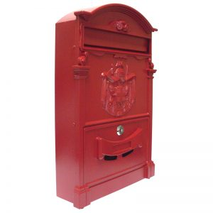 849/2-RED ALUMINUM WALL MOUNT MAILBOX - RED 255 x 90 x 410mm