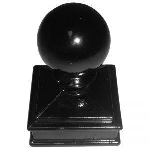"""AL118-BLK  2""""SQ. ALUMINUM NEWEL BALL CAP (BLACK) 2 5/8""""W x 3 3/4""""H"""