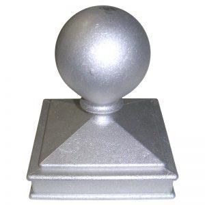 """AL119  4""""SQ. ALUMINUM NEWEL BALL CAP 4 3/4""""W x 5 3/4""""H"""