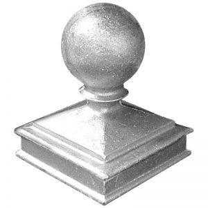 """AL120  3""""SQ. ALUMINUM NEWEL BALL CAP 3 3/4""""W x 5""""H"""