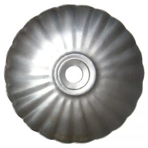 """J303212  2 1/2"""" RIPPLED CANDLE PLATE WITH HOLE (DISCONTINUED)"""