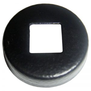 """PSEPCSBR  1 5/16""""RD. COVER SHOE WITH 1/2""""SQ. HOLE 3/8""""H - BLACK RIPPLE"""