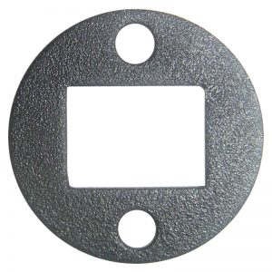 """PSEPL1TB 1 3/8""""RD. PLATE WITH 1/2"""" x 3/4"""" CENTER HOLE & TWO 7/32""""RD. HOLES, 5/64"""" THICK - TEXTURED BLACK"""