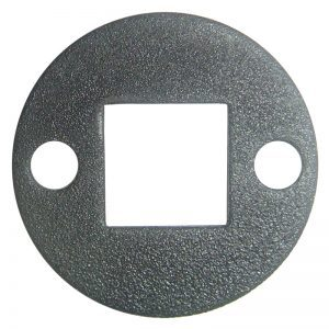 """PSEPL2TB 1 3/8""""RD. PLATE WITH 1/2""""SQ. CENTER HOLE & TWO 7/32""""RD. HOLES, 5/64"""" THICK - TEXTURED BLACK"""