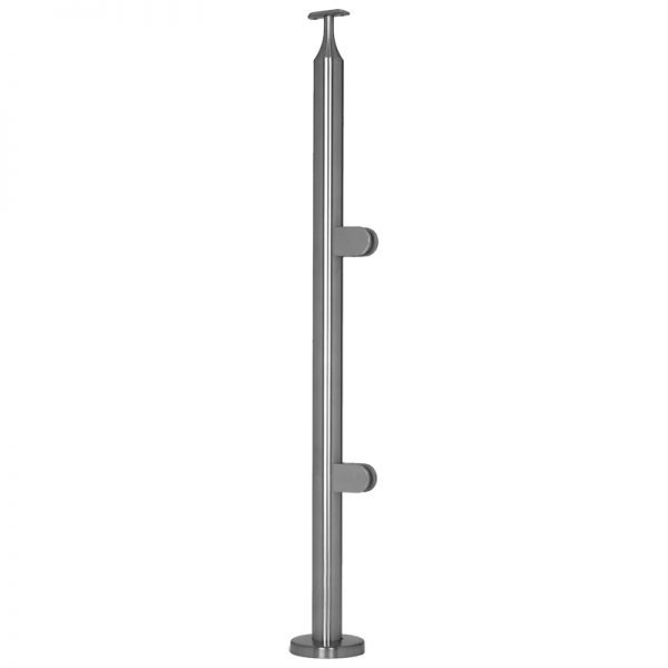"""SSPG166L36E ROUND END RAILING POST FOR GLASS 36"""" (SS316)"""