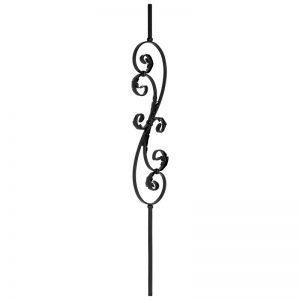 """PS1051/1LTB  1/2""""SQ. SCROLL PICKET WITH LEAVES 44"""" - TEXTURED BLACK"""