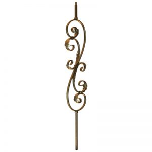 """PS1051/1LCV  1/2""""SQ. SCROLL PICKET WITH LEAVES 44"""" - COPPER VEIN (CUSTOM ORDER)"""