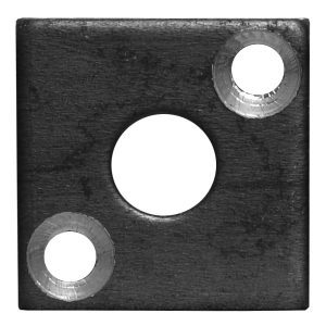 """EPL5 1 1/8""""SQ. PLATE WITH 3/8""""RD. CENTER HOLE & TWO 7/32""""RD. HOLES, 3/32"""" THICK"""