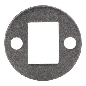 """EPL1 1 3/8""""RD. PLATE WITH 1/2"""" x 3/4"""" CENTER HOLE & TWO 7/32""""RD. HOLES, 3/32"""" THICK"""