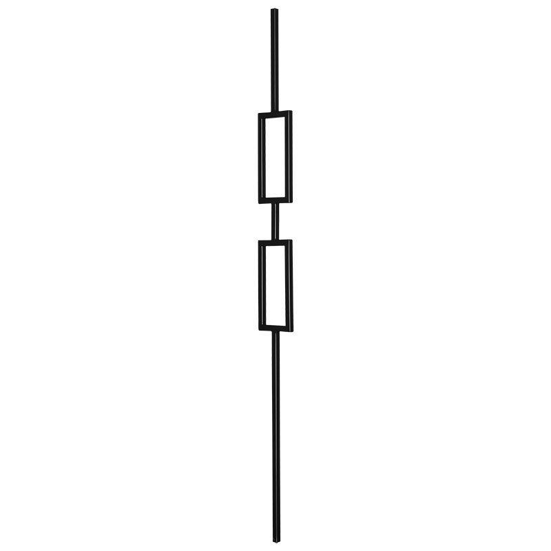 "PTM2TB  1/2""SQ. DOUBLE RECTANGLE MODERN TUBULAR PICKET 3 1/2"" x 44"" - TEXTURED BLACK"