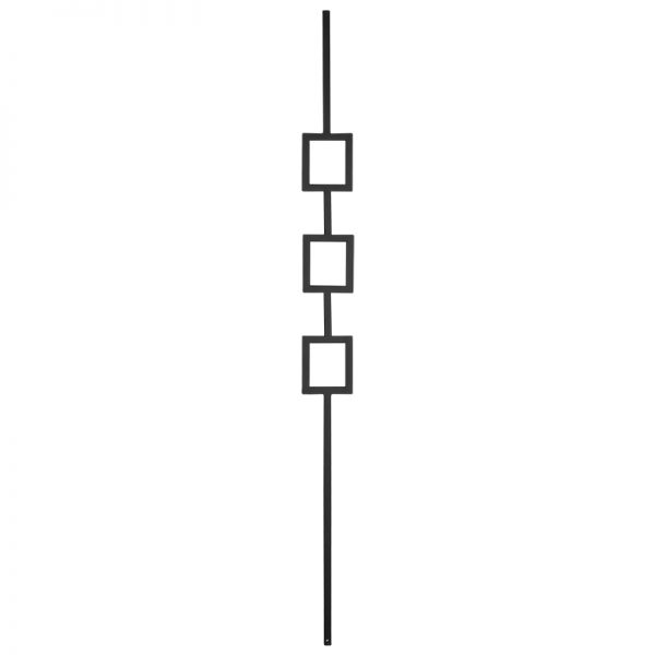 "PTM3TB  1/2""SQ. TRIPLE SQUARE MODERN TUBULAR PICKET 3 1/2"" x 44"" - TEXTURED BLACK"