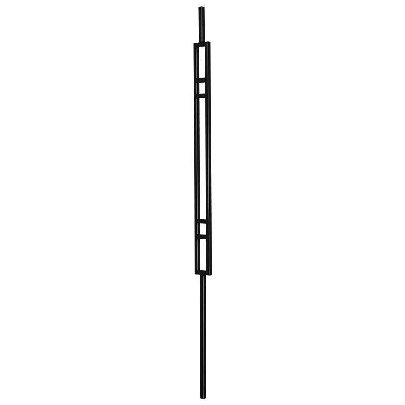 "PTMATB  1/2""SQ. MODERN TUBULAR PANEL PICKET WITH STEM 2 1/4"" x 44"" - TEXTURED BLACK"