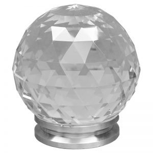 """SSBCRY3POST  4""""DIA. GLASS CRYSTAL POST CAP WITH STAINLESS STEEL SOLID BASE 4 1/4""""H"""