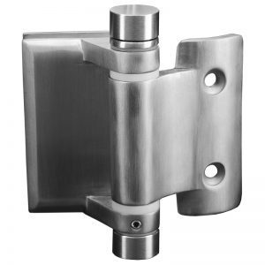 SSPFHSLGRS SPRING LOADED HINGE GLASS TO 42.4mm ROUND POST - SATIN FINISH