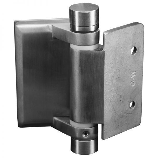 SSPFHSLGWS SPRING LOADED HINGE GLASS TO WALL OR SQUARE POST - SATIN FINISH