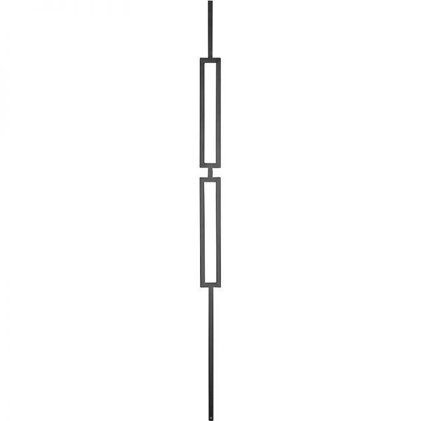 "PTM2STB  1/2""SQ. SLIM DOUBLE RECTANGLE MODERN TUBULAR PICKET 2 1/4"" x 44"" - TEXTURED BLACK"