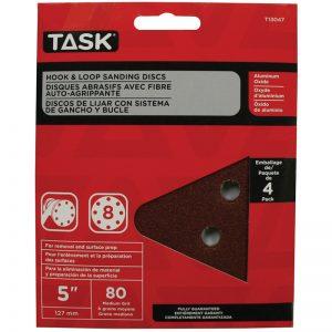 """T13047 TASK 5"""" 8-HOLE 80 GRIT HOOK & LOOP SANDING DISCS 4-PACK"""