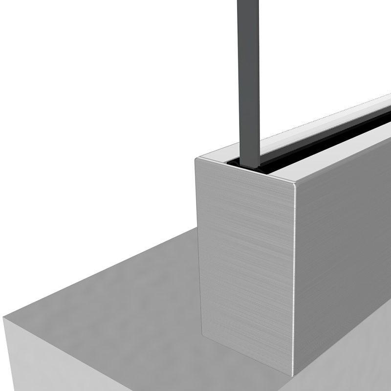SSSM3SHOE10A TILT-LOCK™ ADJUSTABLE TOP MOUNT BASE SHOE FOR 12-13mm GLASS 10 FT. KIT - ALUMINUM CLADDING