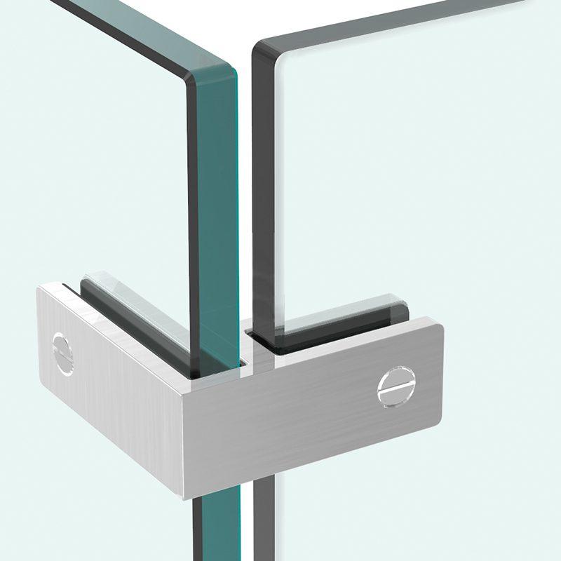 SSPFEB90 STANDARD ULTRA SLIM FRAMELESS 90° GLASS CONNECTOR FOR GLASS TO GLASS (10-12mm GLASS) - SATIN FINISH