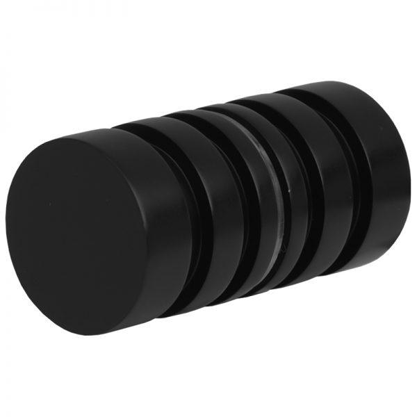 SSSFDK2B GROOVED ROUND GLASS DOORKNOB 32mm DIA. x 30mm - SATIN BLACK