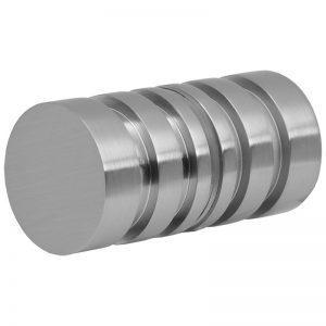 SSSFDK2BN GROOVED ROUND GLASS DOORKNOB 32mm DIA. x 30mm - BRUSHED NICKEL
