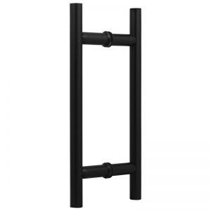 """SSSFDHL8B ROUND LADDER GLASS DOOR HANDLE 8"""" - SATIN BLACK"""