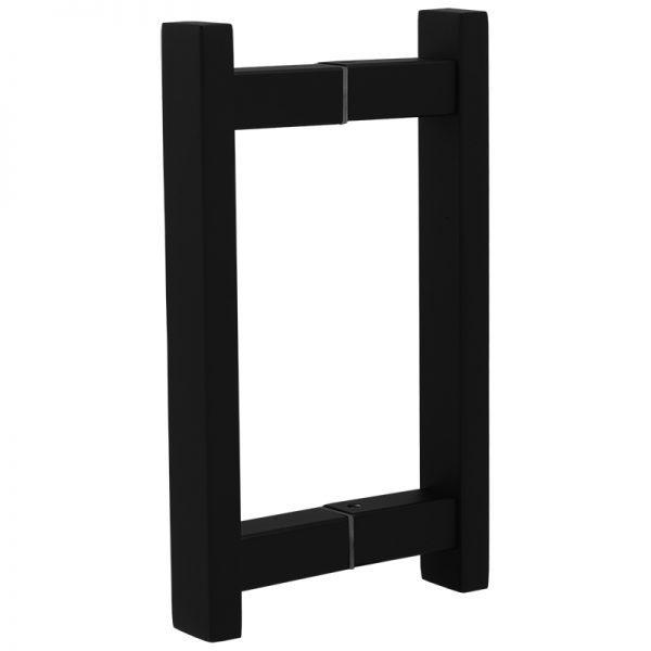 "SSSFDHSQ8B SQUARE LADDER GLASS DOOR HANDLE 8"" - SATIN BLACK"